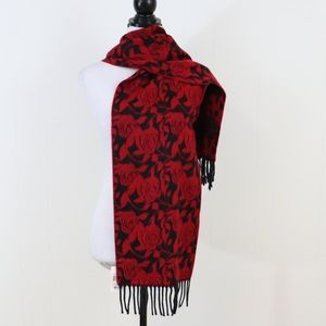 Cejon rose woven scarf with fringe